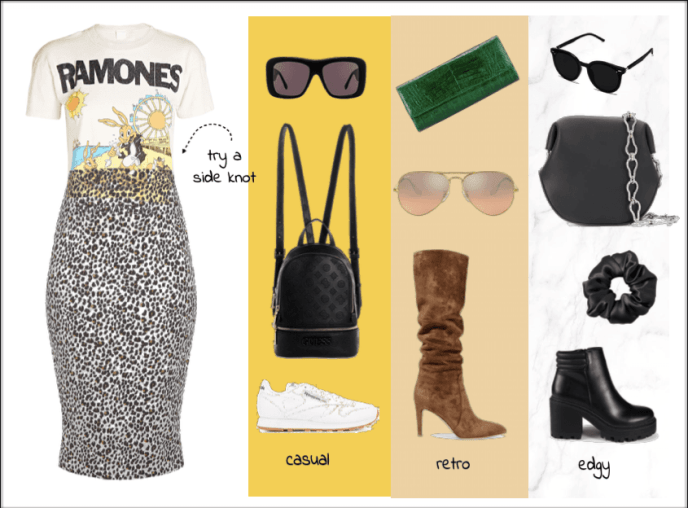 Band tee and leopard print skirt with neutral accessories outfit