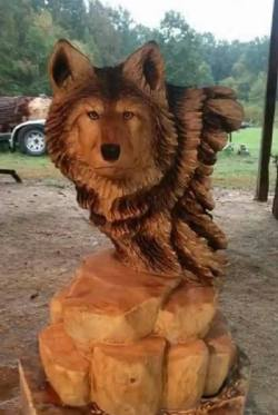 One word for this wooden wolf carving? :)