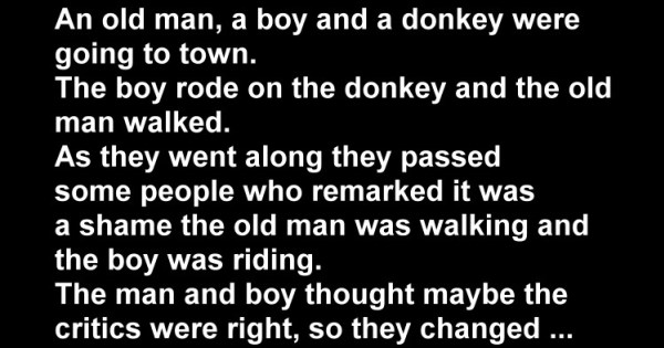Stupid Joke: The Boy, the Donkey and An Old Man
