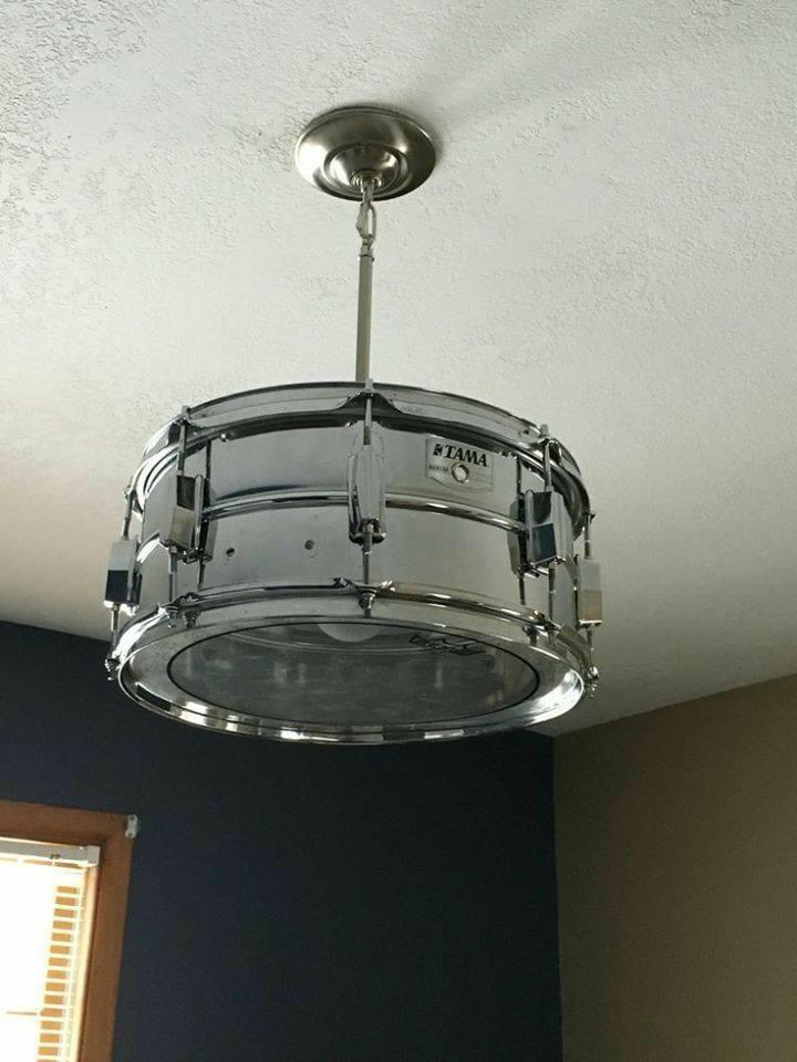 Amazing pendant light from re-purposed drum!