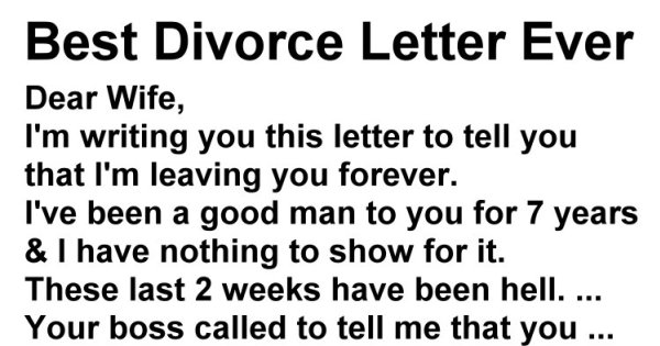 Husband Demands A Divorce In Letter To Wife, But Her Reply Makes H