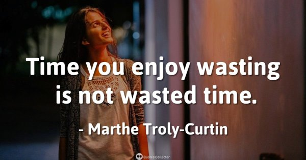 Time you enjoy wasting is not wasted time. – Marthe Troly-Curtin