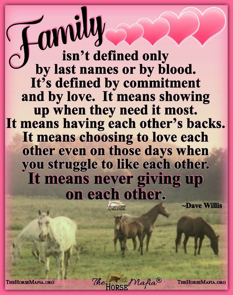 Family means never giving up on each other  The Horse Mafia®  Cowgirl Charity and The Horse Mafia®