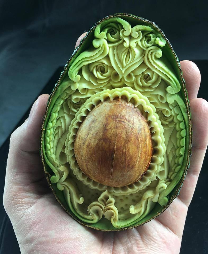 Fresh hand carved Avocado.