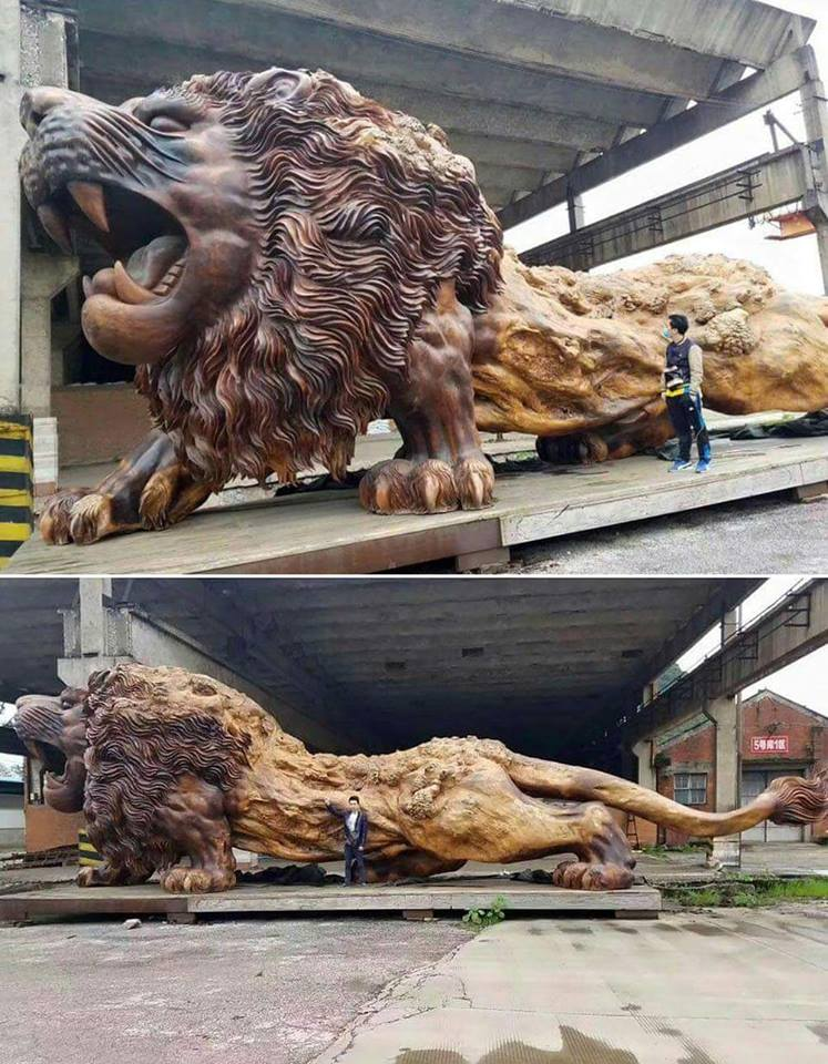 Giant Lion Sculpture Carved from Single Dead Tree Trunk. Took 20 People and 3 Years to Complete.