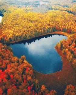 Heart shaped lake  Ontario, Canada.