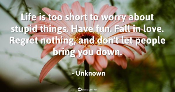 Life is too short to worry about stupid things. Have fun. Fall in love. Regret nothing, and don' ...