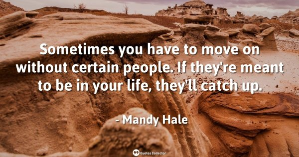 Sometimes you have to move on without certain people. If they're meant to be in your life, they' ...