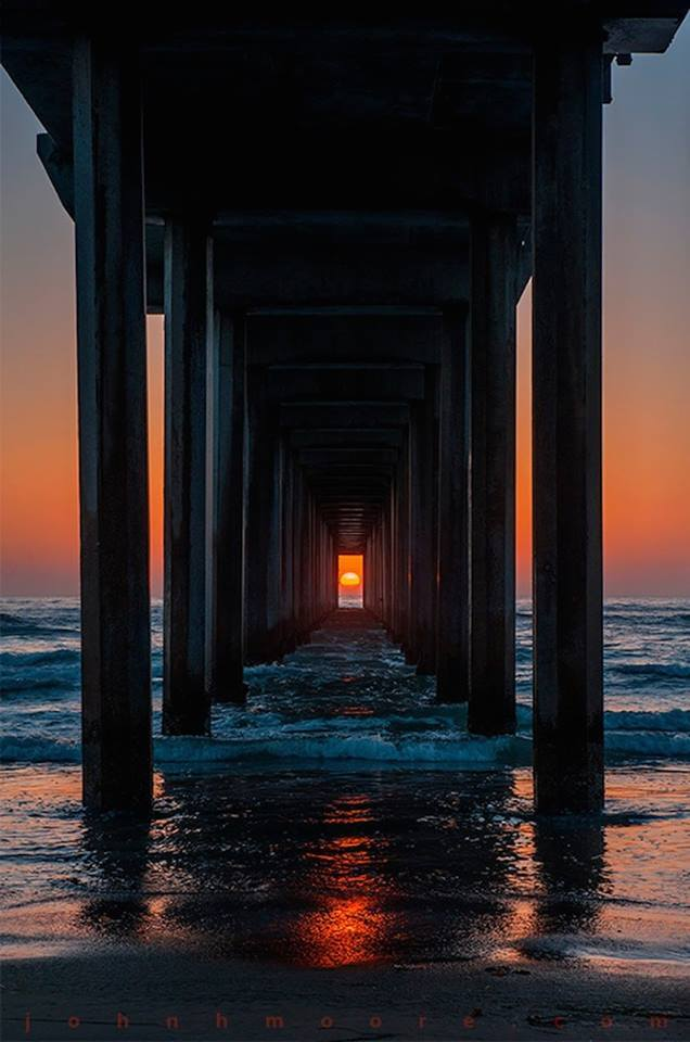Twice each year the sunset aligns perfectly with the pier in La Jolla, California. The alignment ...