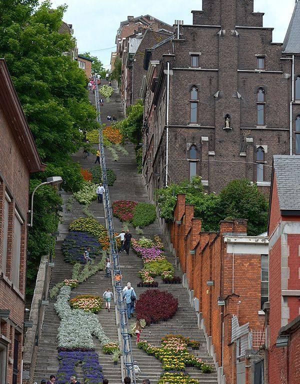 Long stairs in Liège, Belgium