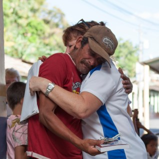 Leonel was openly weeping with joy when he received the keys to the new home for his family