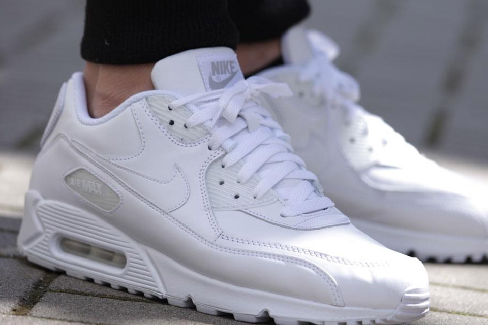Triple White Essential Nike Air Max 90 Leather All PkXZuOi