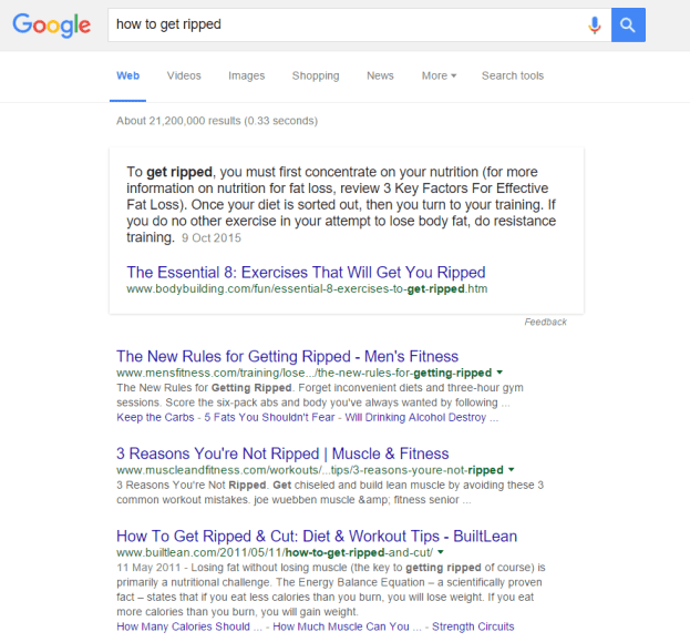 how to get ripped google results