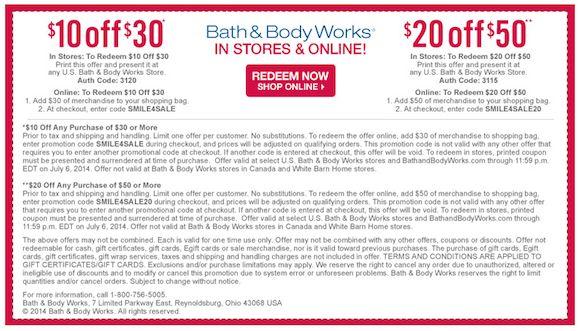 Save 10 30 Bath And Body Works Printable Coupon