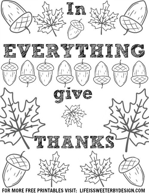 Free Thanksgiving Thankful Coloring Page