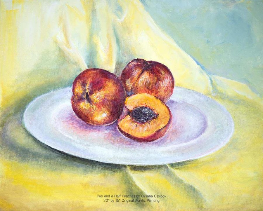 Two and a Half Peaches, original still life painting by Oksana Ossipov