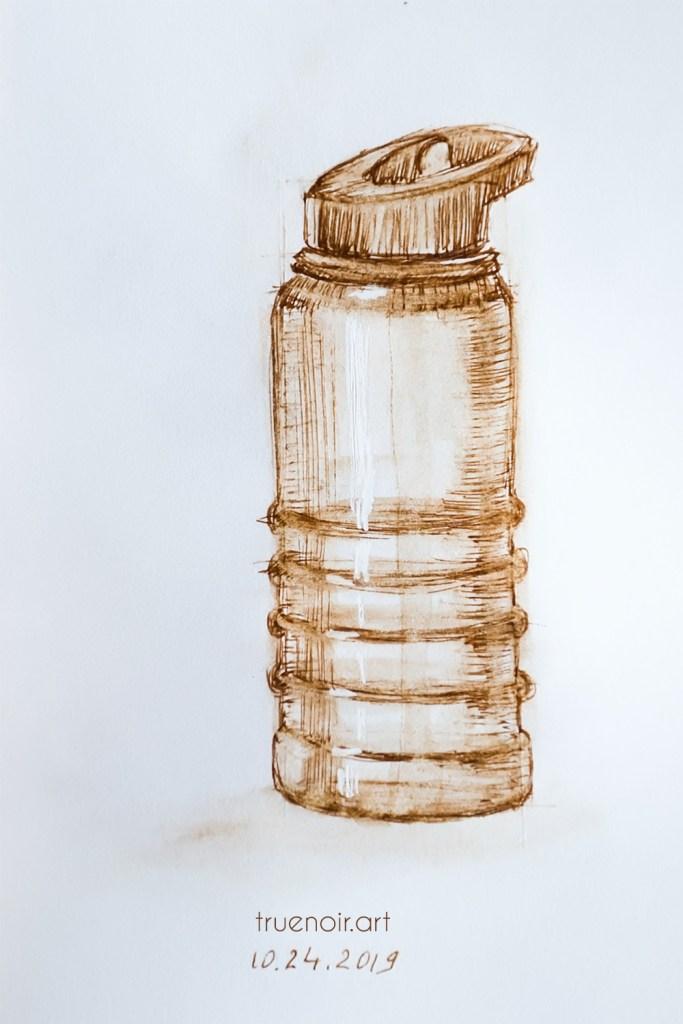 .019 Water bottle, pen on paper