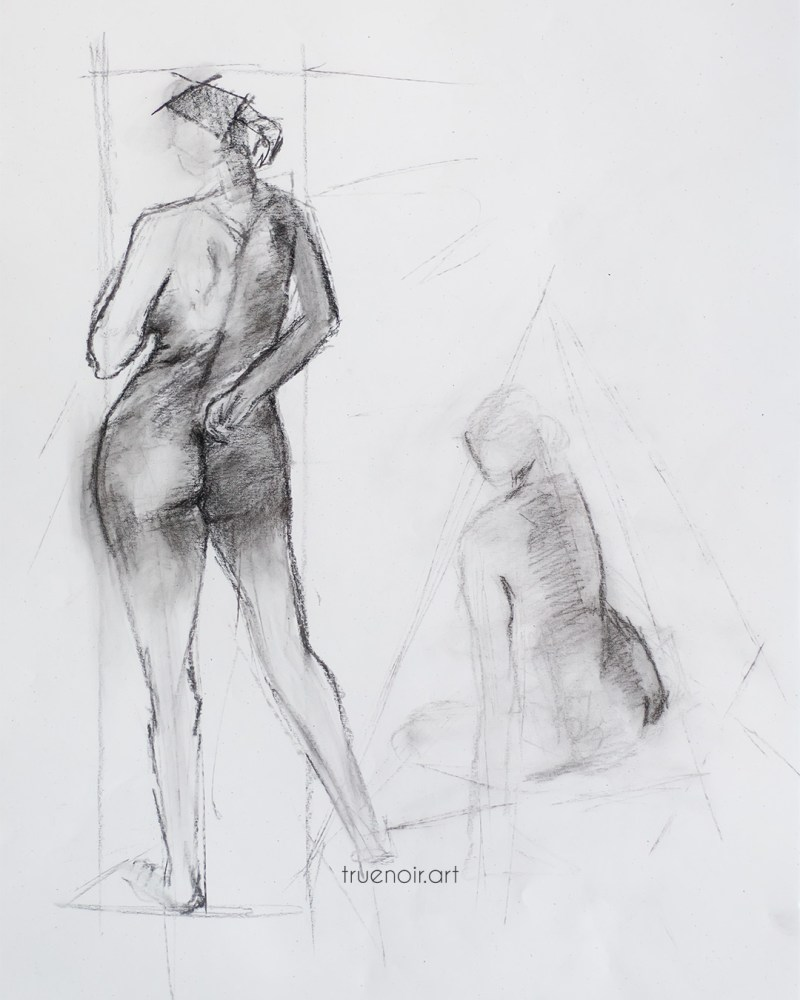 Standing and sitting figure charcoal drawing