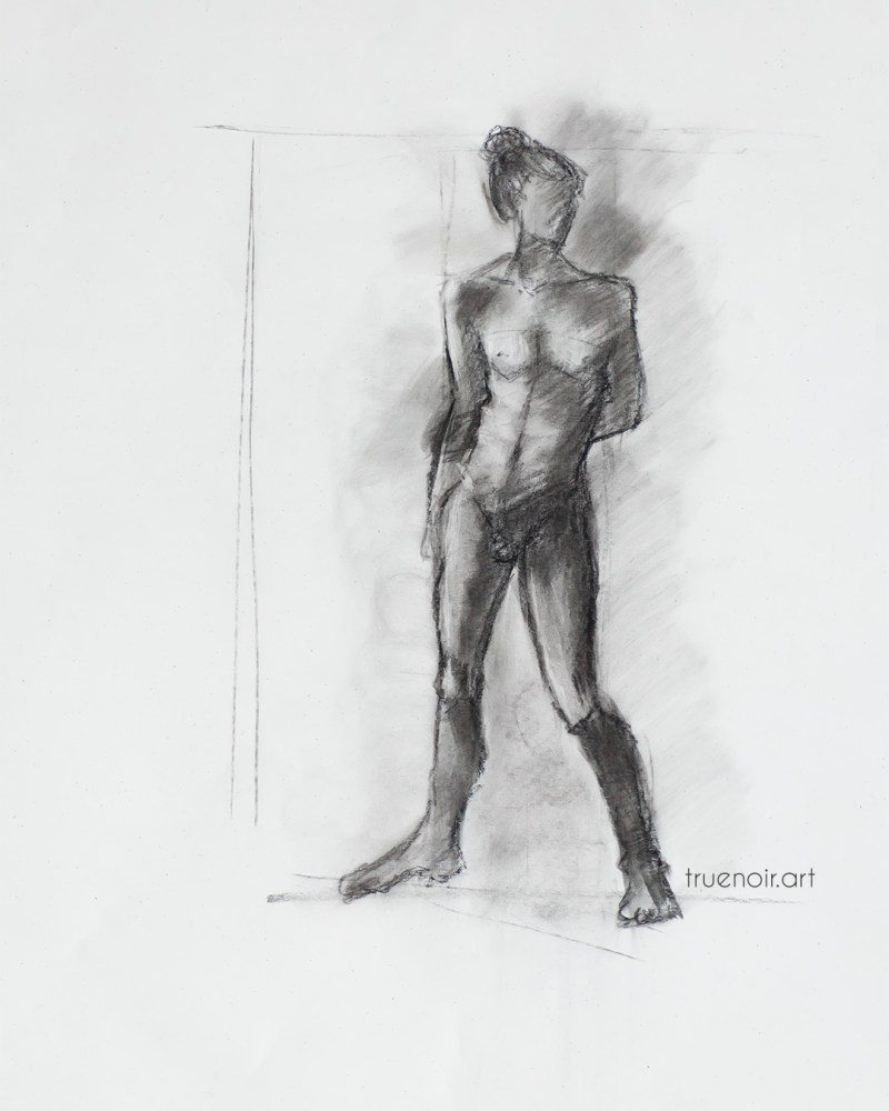 Longer standing pose, charcoal drawing