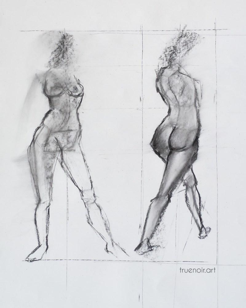 Venus, charcoal sketches