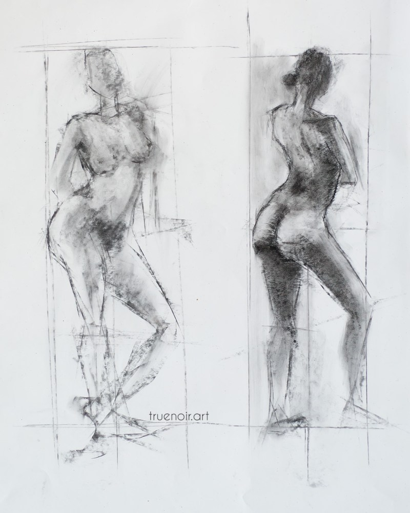 Two-pose female, charcoal drawing