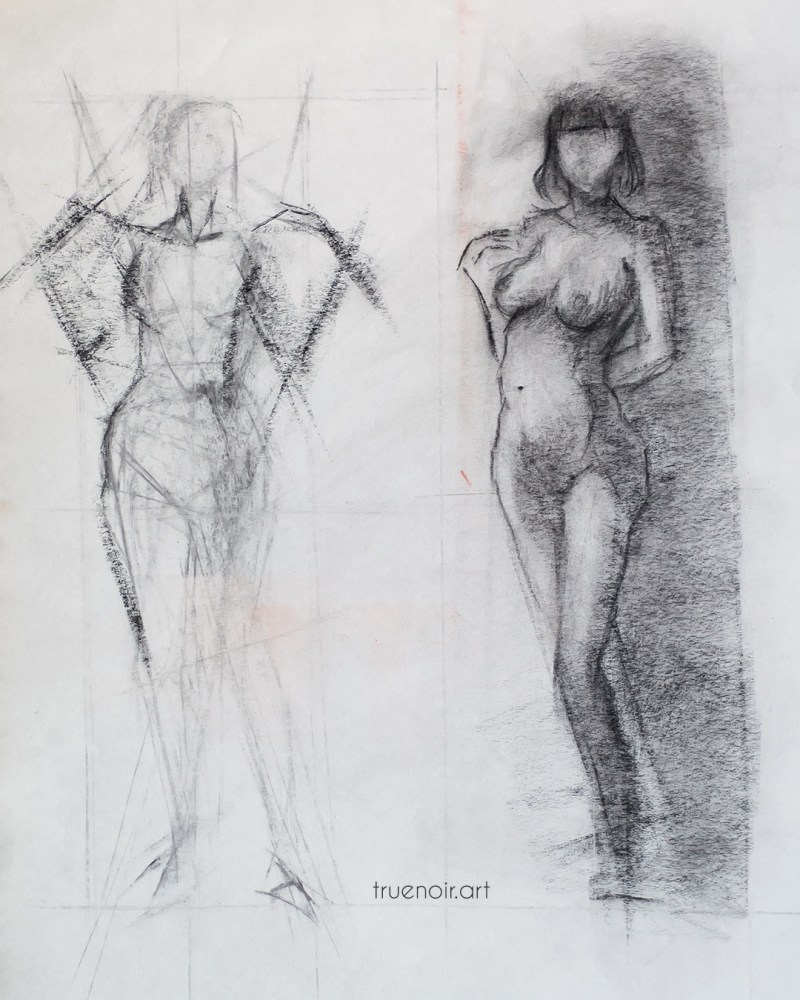 Dynamic gesture, charcoal drawing
