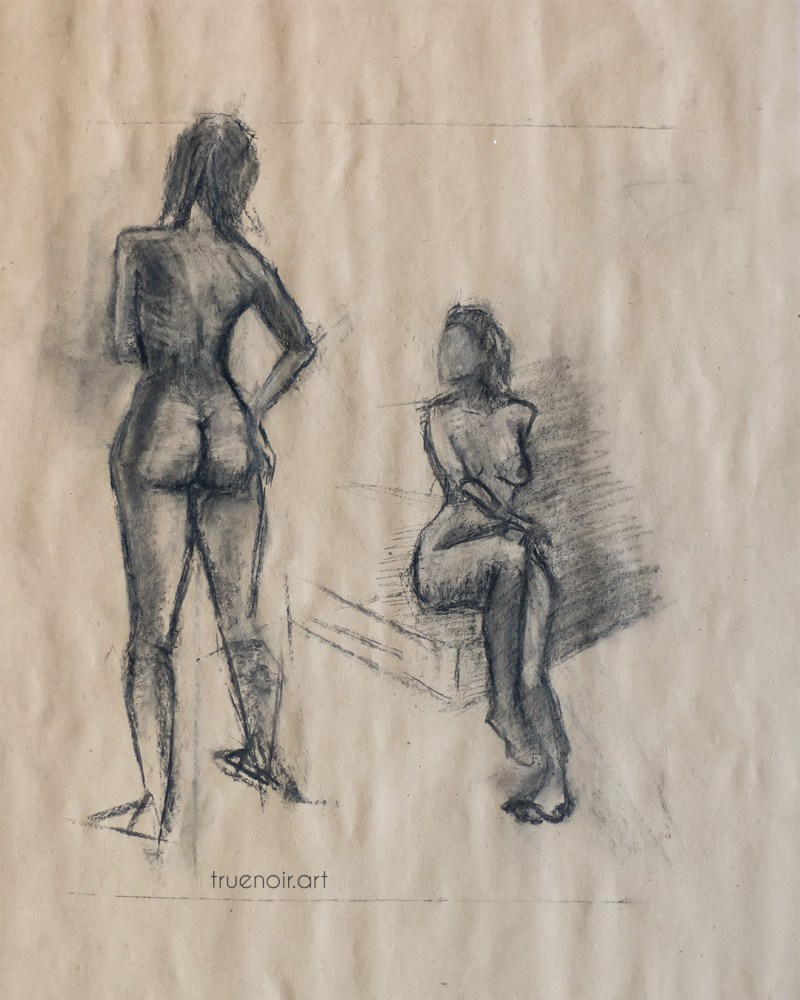 20-minute poses, charcoal drawing