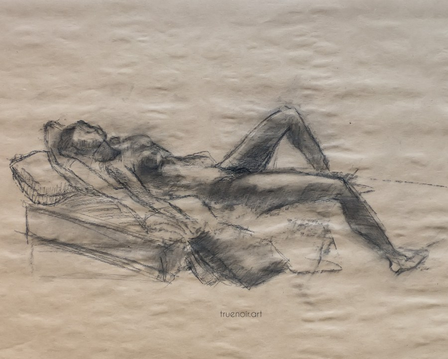 Reclining figure, charcoal drawing