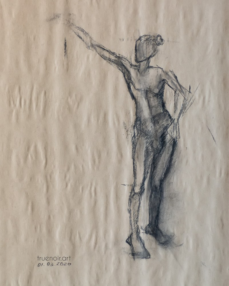 Standing male figure, charcoal drawing