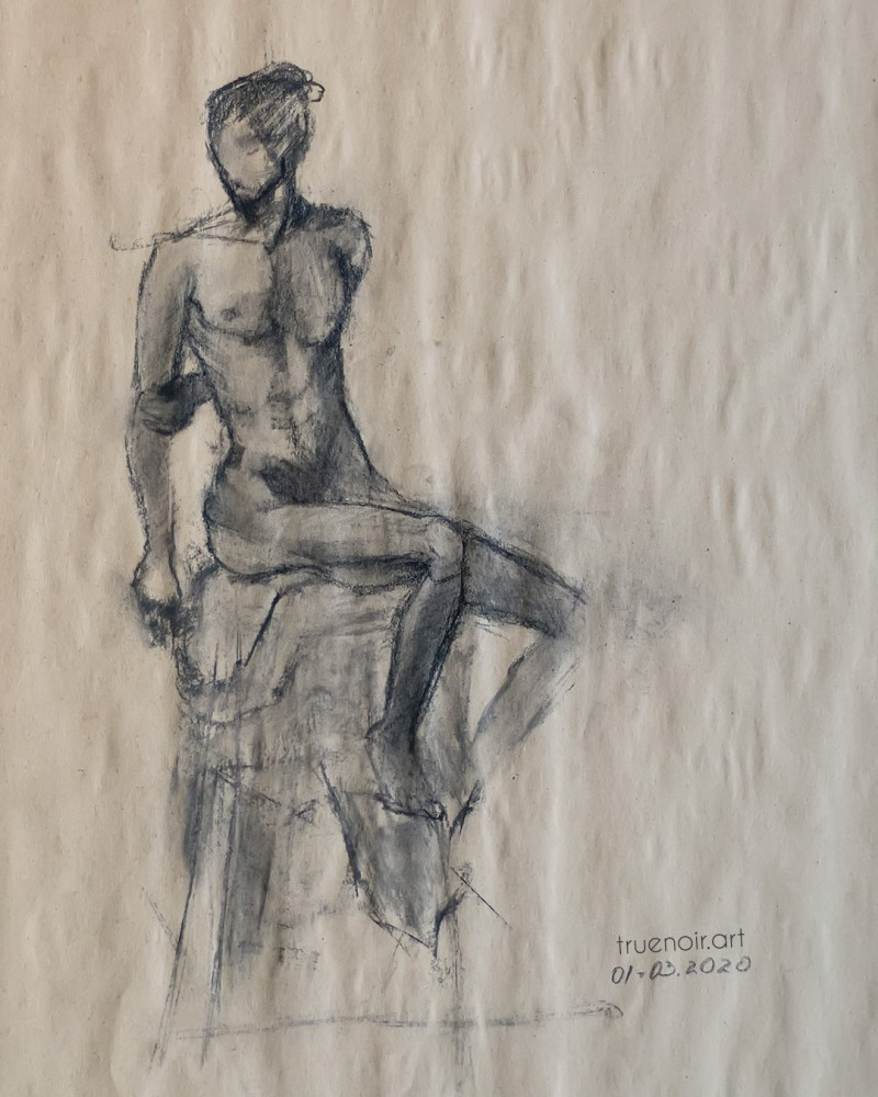 Sitting male figure, charcoal drawing