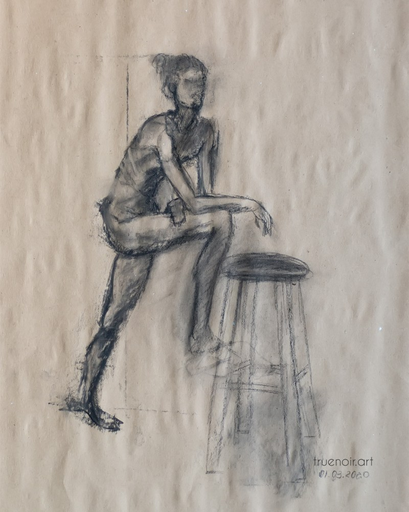 Leaning figure, charcoal drawing