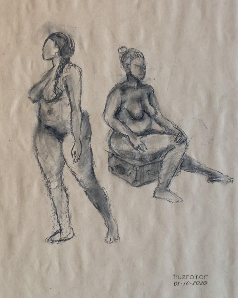 Waiting, charcoal drawing