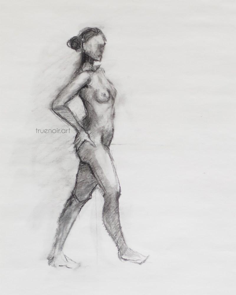Female Figure, charcoal drawing