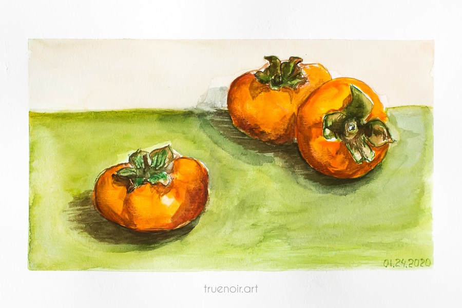 Three persimmons, watercolor painting