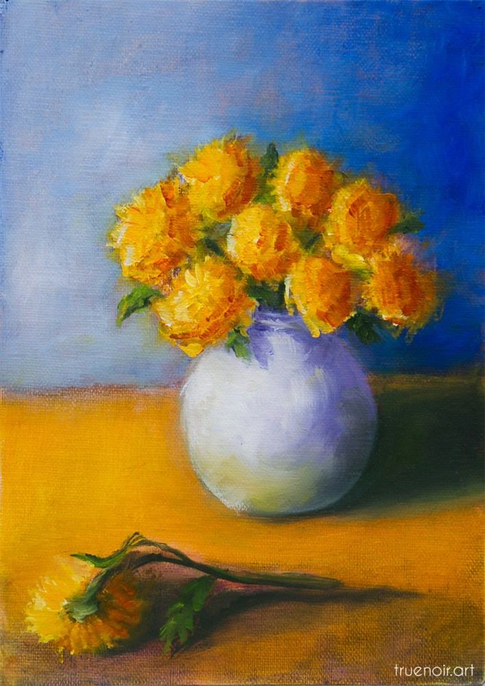 Bouquet of Mums in a Vase, oil painting