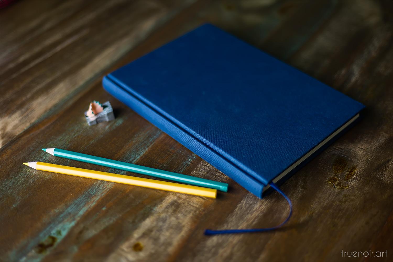 Blue Semikolon Sketchbook and pencils