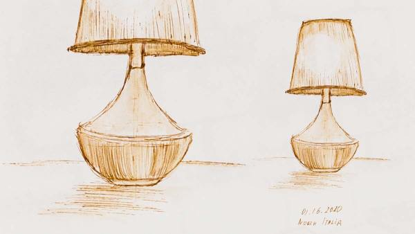 .035 North Italia Lamp, pen drawing