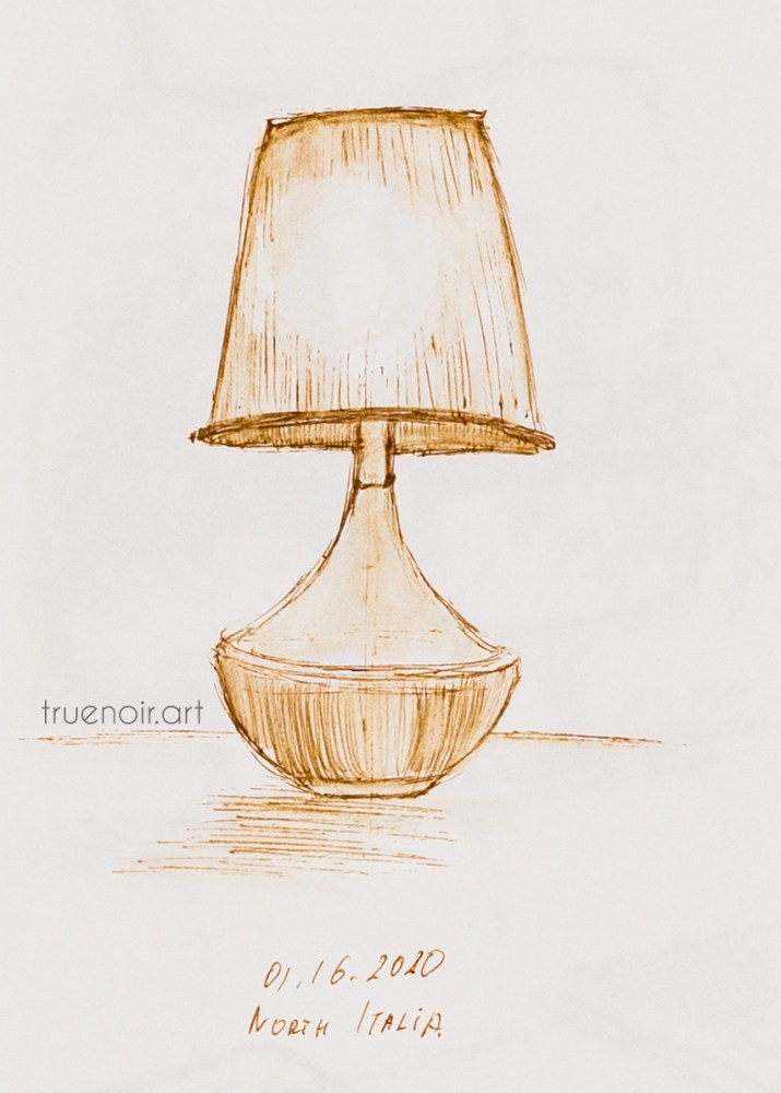 Sepia pen drawing on paper of a interior lamp at the North Italia restaurant