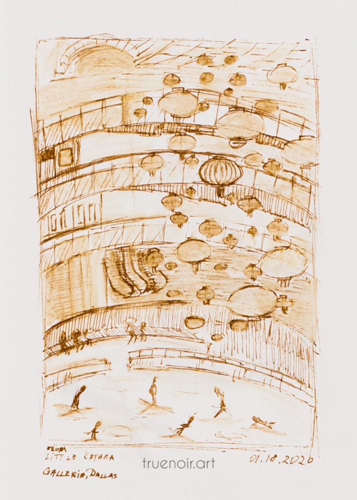 A pen drawing of a view from second floor down on the skating rink at Galleria Dallas during Lunar Festival.