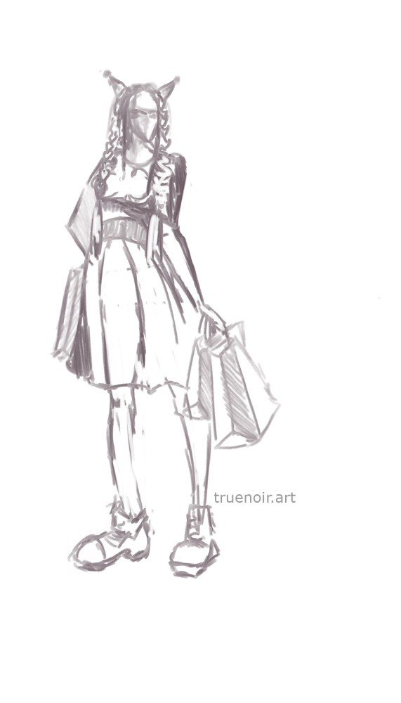 Girl holding shopping bags in both hands. Gesture drawing of a 15-minute pose during life drawing sessions at TSoFA.