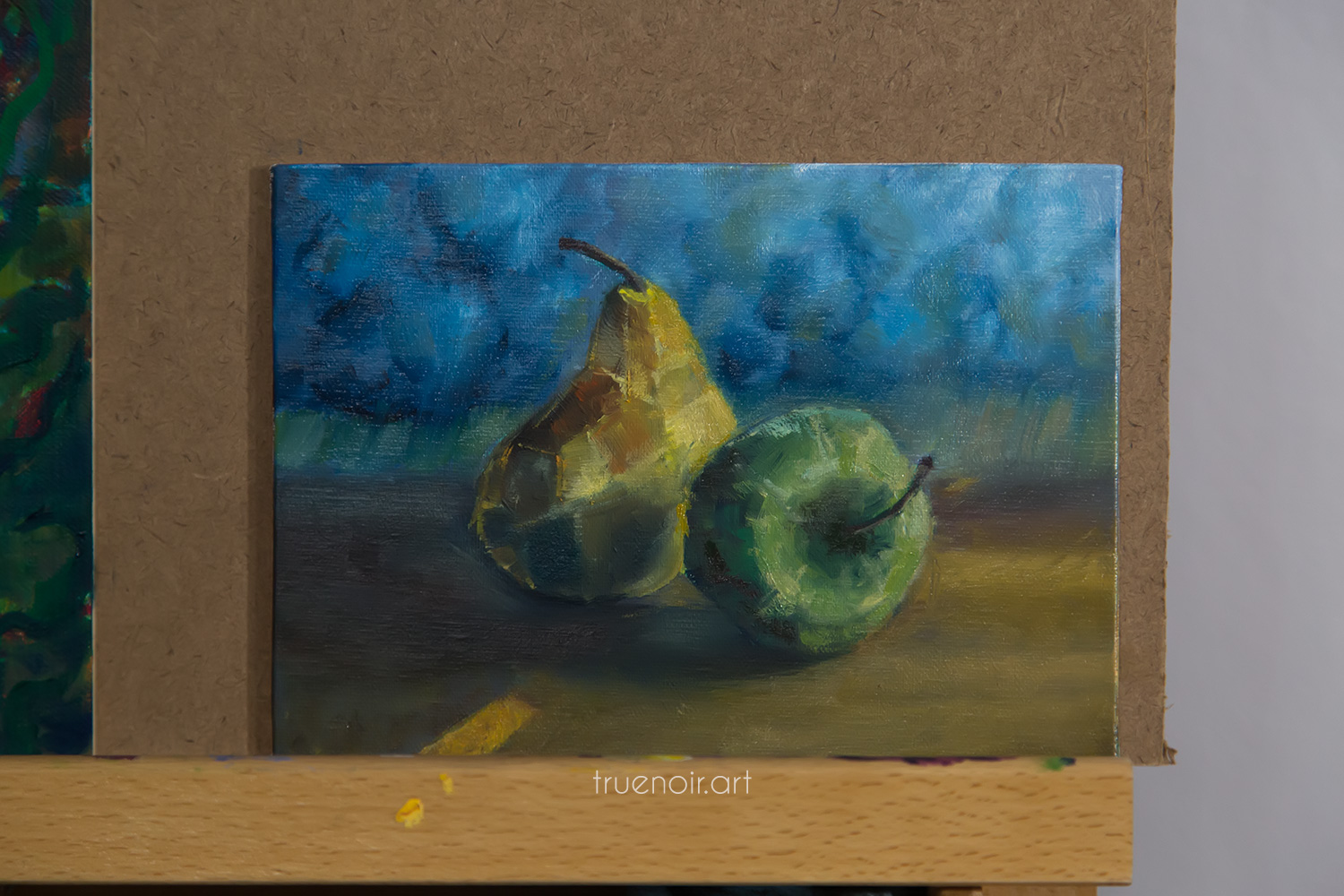 Apple and pear painting, almost finished painting