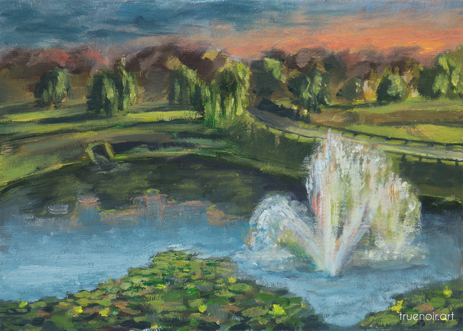 Original oil painting of a lake with a fountain at sunset.