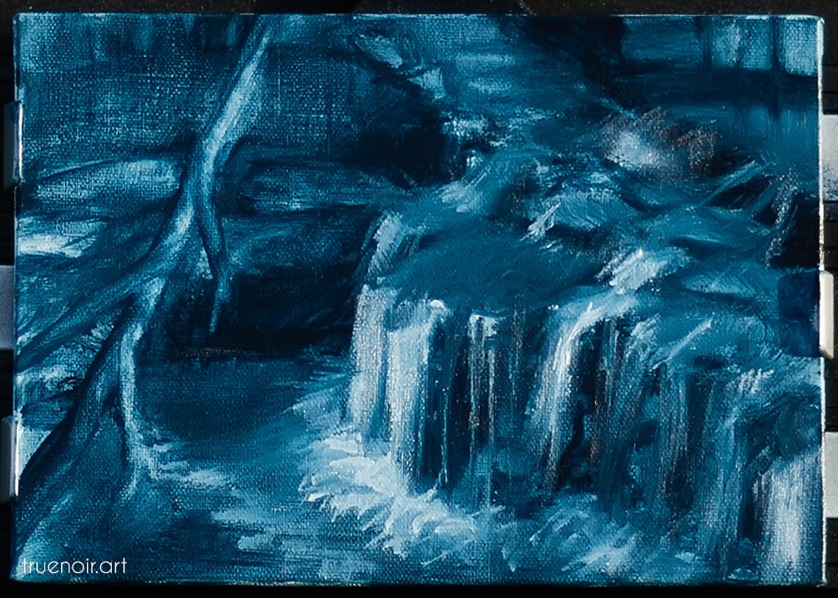 Close-up shot of the finished waterfall underpainting.