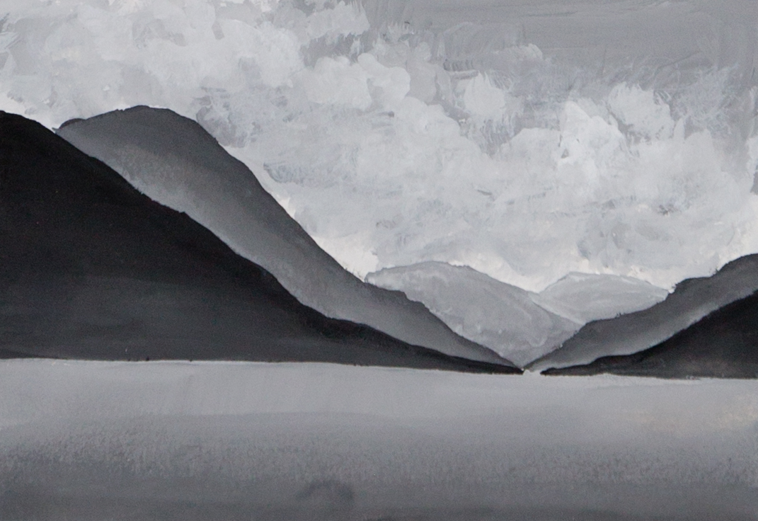 Monochrome value and gradient study of hilly side