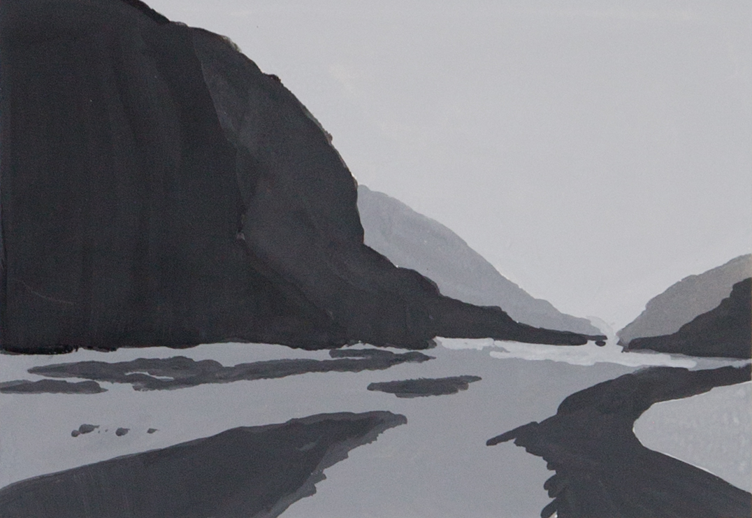 Monochromatic value study of mountain and river in gouache.