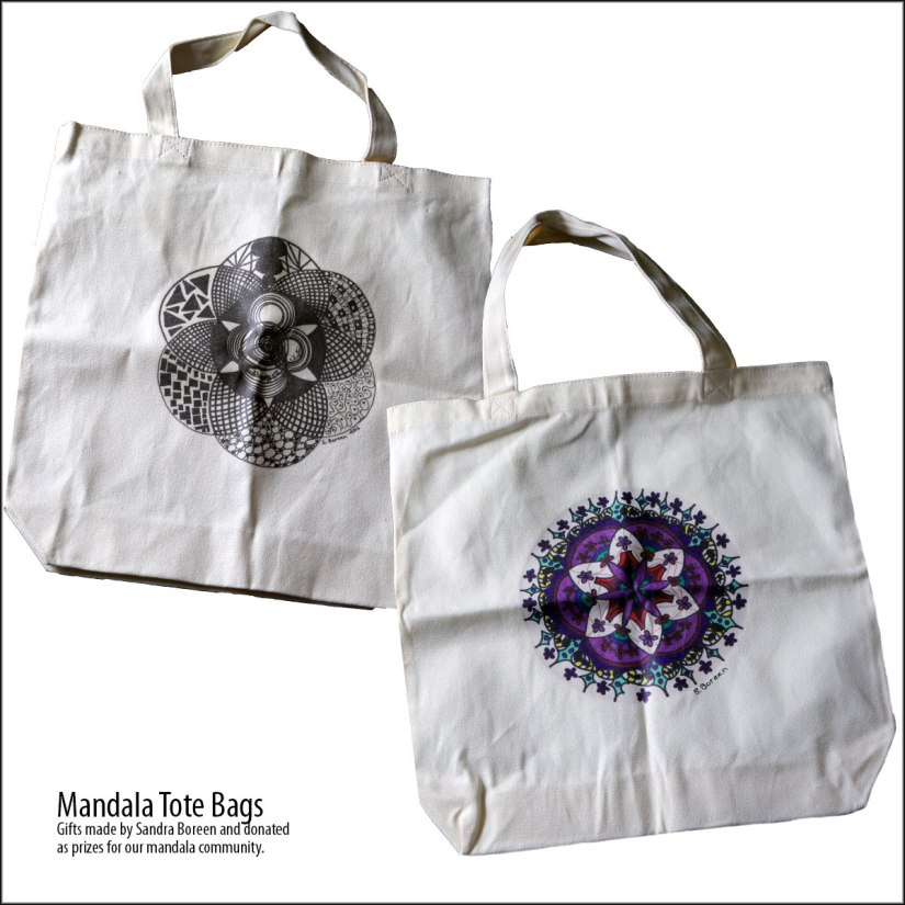 Mandala Tote Bags created by Sandra Boreen. Gifts donated as prizes for our mandala community.
