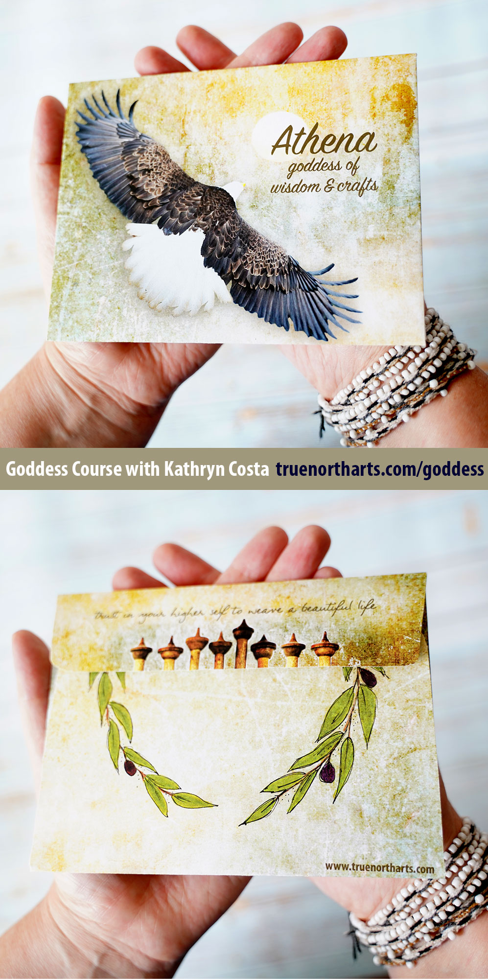 The beautiful envelopes that you get for the Athena lesson when you enroll in the Goddess Course with Kathryn Costa.