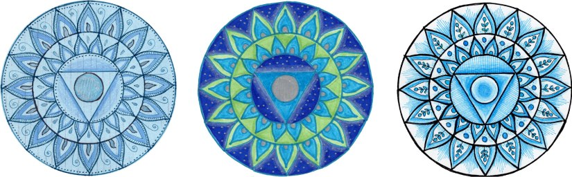Examples of throat chakra mandala art using the chakra stencil.