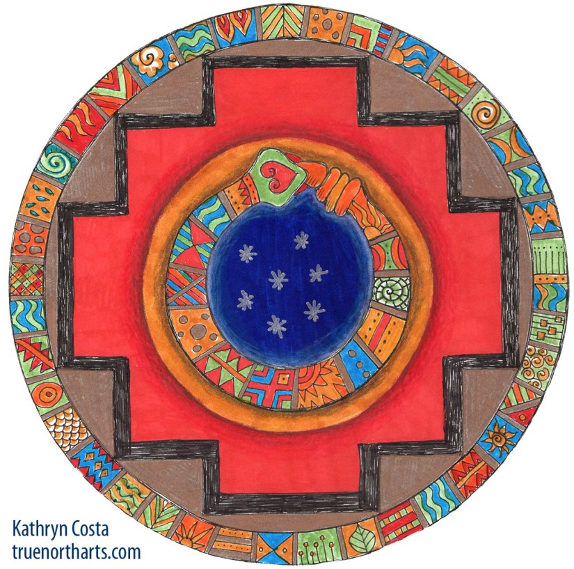 Shamanic Mandala - First Gate, Snake, Inca Cross, Four Elements - Air, Water, Fire, Earth
