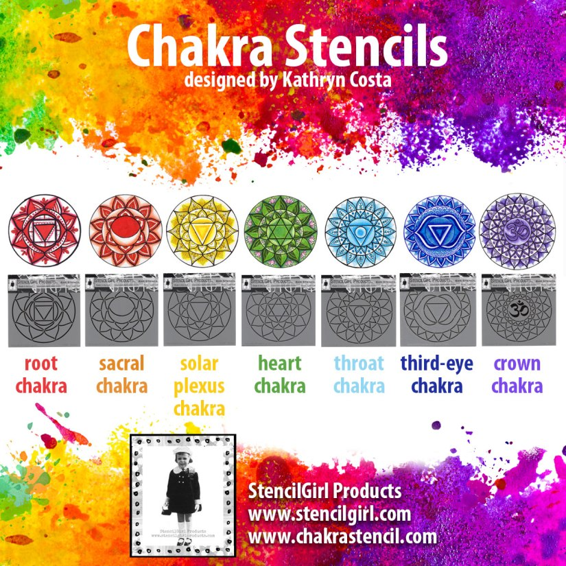 Creating your own chakra art is so easy with Kathryn Costa's chakra stencils from StencilGirl Products.